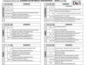 1 AGENDA DE RETIROS E ENCONTROS  - 2018 ........xlsx