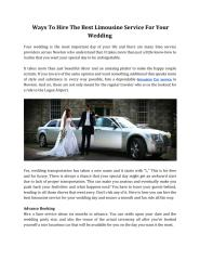 Ways To Hire The Best Limousine Service For Your Wedding.pdf